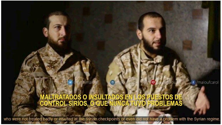 Hassan Nabih Taha y Mehdi Hani Shaib fueron capturados por rebeldes sirios hace casi dos meses y entrevistados por la televisión libanesa