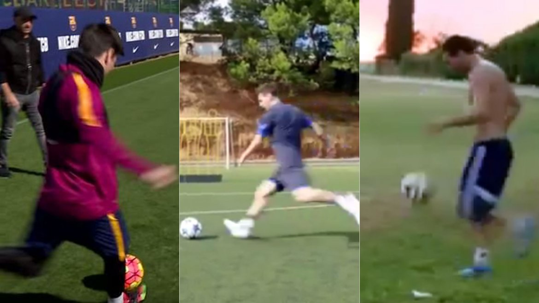 El argentino Lionel Messi es un especialista en hacer goles que parecen imposibles en los entrenamiento