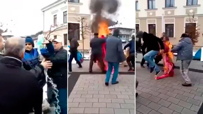 El dramático momento en que el hombre se prendió fuego en el centro de la ciudad
