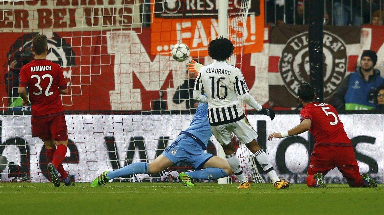 El gol de Juan Guillermo Cuadrado para el 2 a 0 parcial de la Juventus ante el Bayern Munich
